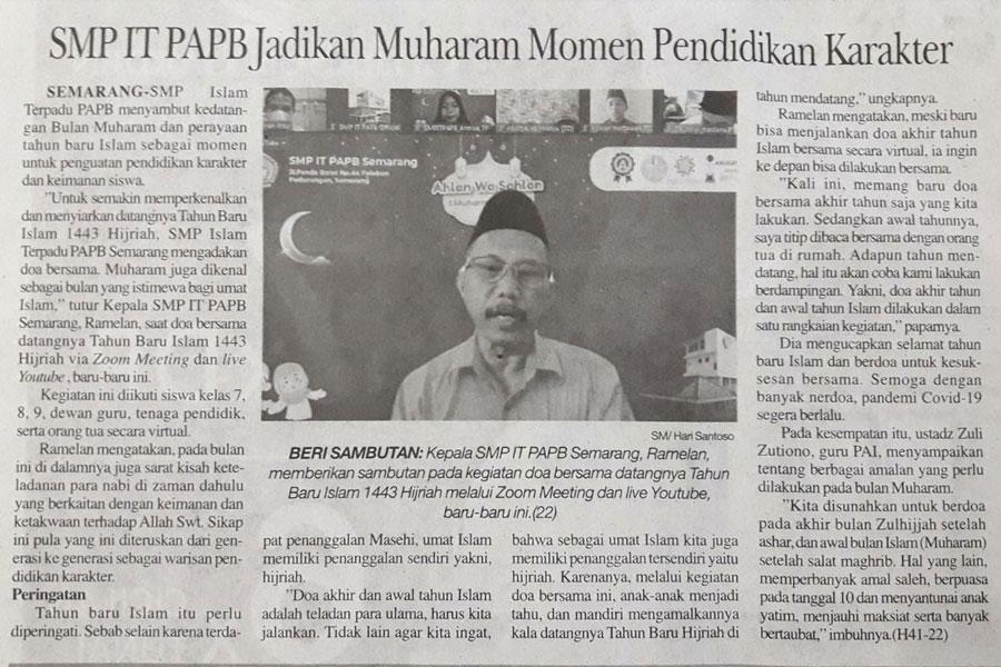 SMP IT PAPB Semarang Menjadikan Bulan Muharam Sebagai Momen Pendidikan Karakter